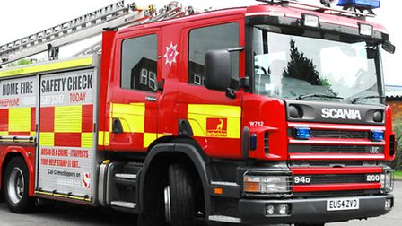Firefighters were called to Charlton Road in Hitchin last night after an aerosol exploded on a bonfi