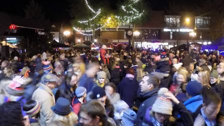 Hitchin Christmas lights switch-on event in the Market Place, November 2015