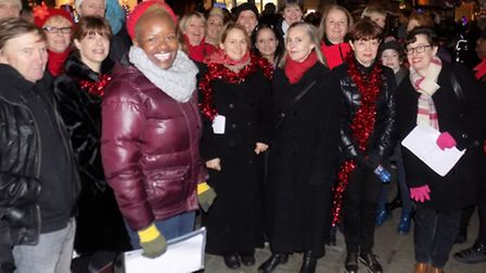Hitchin Christmas lights switch-on event in the Market Place, November 2015. The Covenant Praise Com