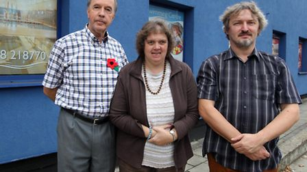 David Wall, Pamela Wall and Julian Richards pictured outside Stevenage Swimming centre, are trying t