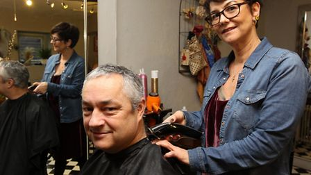 Andrew Archer has his head shaved by Jo Gates, (Hair Loss Specialist, Cancer Hair Care)