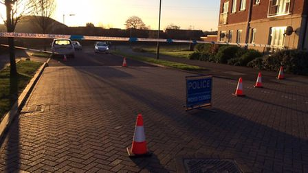 The police cordon in Mendip Way, Stevenage, this morning after a 17-year-old boy was stabbed late la