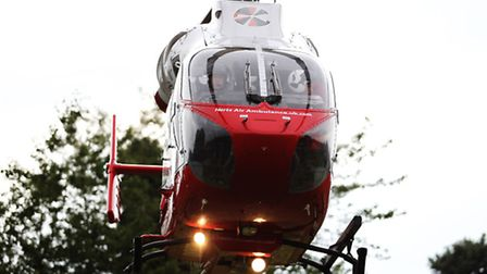 The Herts Air Ambulance has landed in Stevenage after a woman went into cardiac arrest.
