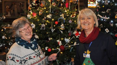 Hitchin tree festival organisers Jill Chidgey and Clare Fleck with their tree.