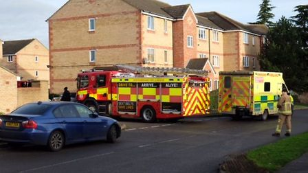 Firefighters and an ambulance at the scene in Prestatyn Close, Stevenage. Picture: Danny Loo