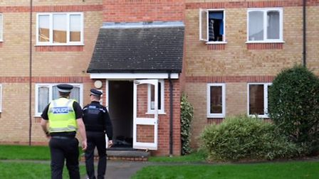 Police at the scene of the fire in Prestatyn Close, Stevenage. Picture: Danny Loo