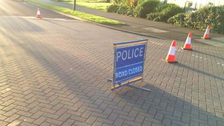 Mendip Way in Stevenage remains closed after a teenager was stabbed last night. Picture: Rebecca Day