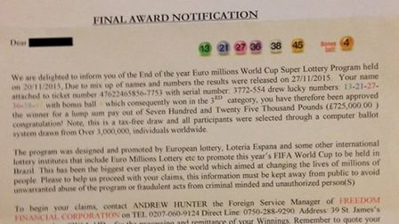 The public are being warned to be on their guard after a World Cup scam letter was sent to an elderl