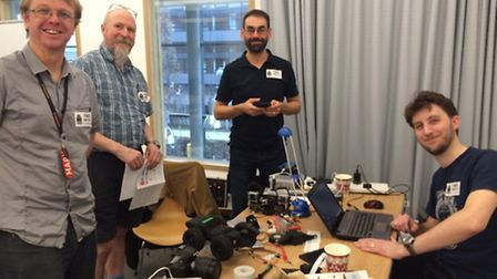 Members of the Hitchin Hackspace team at Pi Wars 2015.