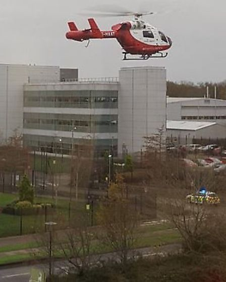 Nikki Duffy being flown to Queen's Hospital in Romford by the Herts Air Ambulance. Picture Dayle Cla