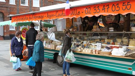 French cheese on sale at the French market in Baldock
