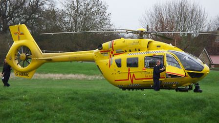 The East Anglian Air Ambulance landed in the Fishers Green area of Stevenage after reports of a man