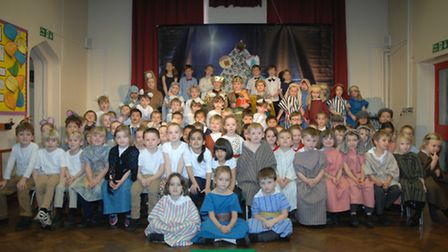 Pupils at Great Chesterford Primary School line up for their nativity play