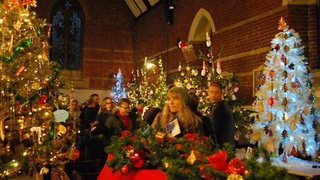 Christmas trees from Hitchin's Holy Saviour Church.