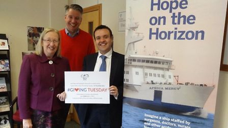 Stevenage MP Stephen McPartland is pictured with Mercy Ships community fundraiser Jane Palmer and di