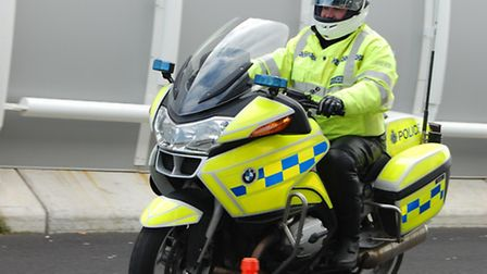 A Metropolitan police officer crashed his bike near Hitchin this afternoon