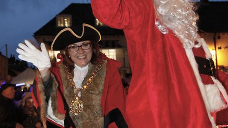 The Mayor and Father Christmas arrive in Saffron Walden to switch on the Christmas lights Picture: C