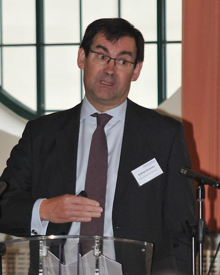 Andrew Stroomer of Airbus Defence and Space in Stevenage addresses business leaders at the meeting.
