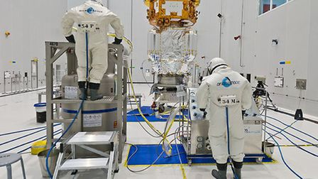 Members of the Airbus Defence and Space team from Stevenage, preparing to fuel the craft.