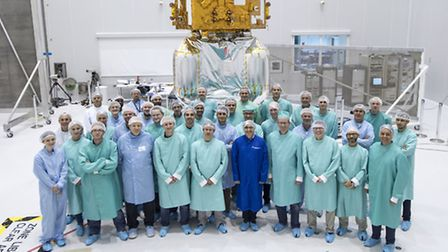 Vicki Lonnon (far left) with the rest of the Stevenage-based team and ESA colleagues.