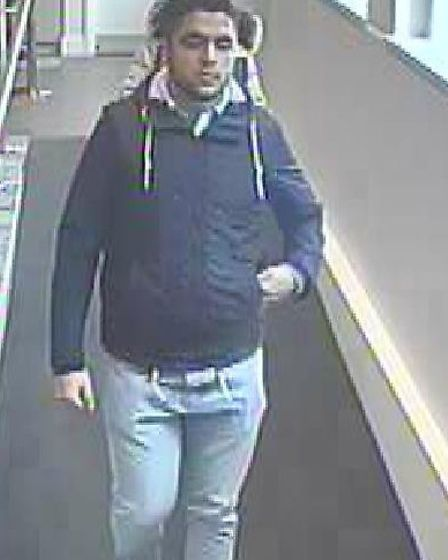 Officers are looking to speak to two people including this man after a Hitchin theft