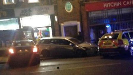 The scene of the crash in Hermitage Road, Hitchin, in December last year. Picture: @rahuljoshi_uk vi
