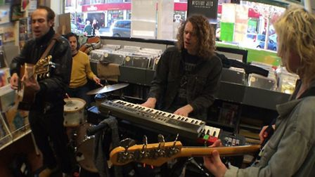 The Mystery Jets performing at David's Music and Bookshop in Letchworth. Credit: @SorshaRoberts.