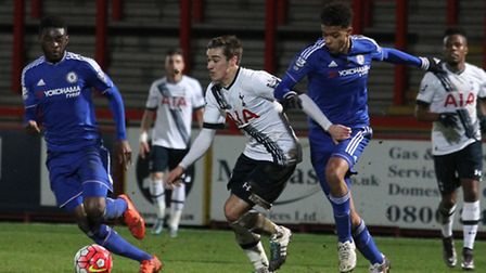 Harry Winks of Tottenham U21s in action against Chelsea at the Lamex this month.
