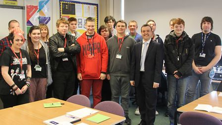 Stevenage MP Stephen McPartland visiting students on the Springboard Programme at North Herts Colleg