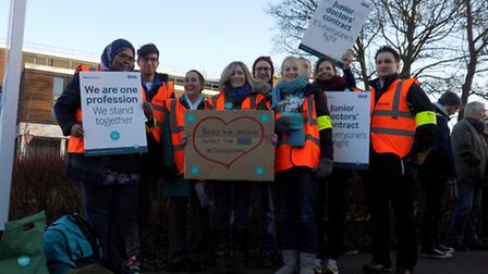 BMA junior doctors protest outside Lister Hospital during their one-day strike on Tuesday.