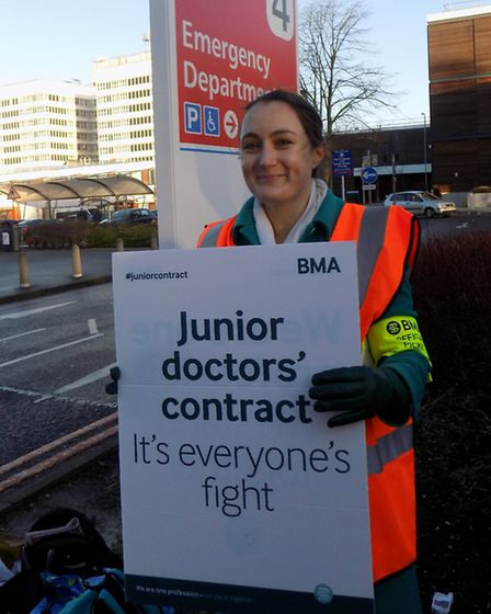 Anna Kaleva, 29, a junior doctor in plastic surgery joins the protest outside the Lister hospital