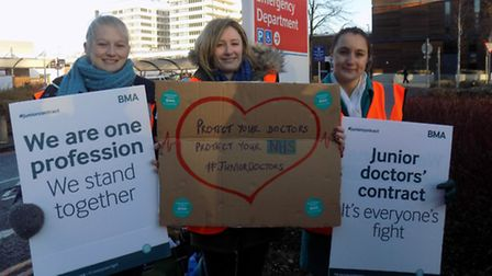 Junior doctors joining the protest, from left to right, Laura Wills, 27, Laura Hobbs, 27 and Anna K