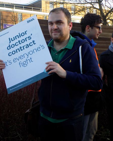 Junior doctor Adam Channell, 29, lends his support to the protest