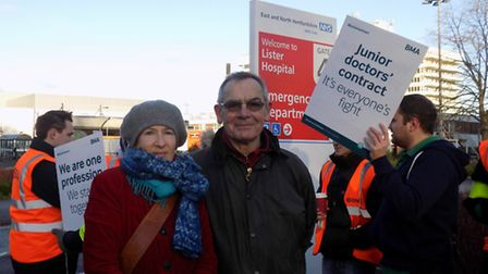 Former Stevenage mayor Hugh Tessier and Herts County Councillor Amanda King lend their support to th