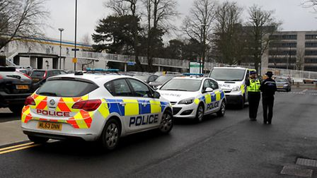 Police at the scene of the protest at Stevenage Magistrates' Court.