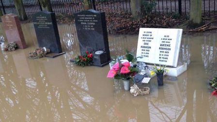 Flooding at the Gun Road Gardens Cemetery in Knebworth.
