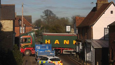 The articulated lorry stuck in Walkern High Street. Picture: John Pink - flickr.com/photos/pinkwalke