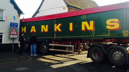 This articulated lorry became firmly stuck in narrow Walkern High Street on Tuesday. Picture by Emma
