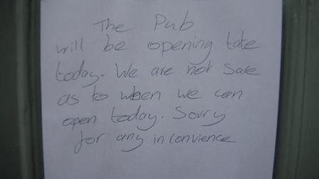 The sign on the front door of the Temeraire pub in High Street