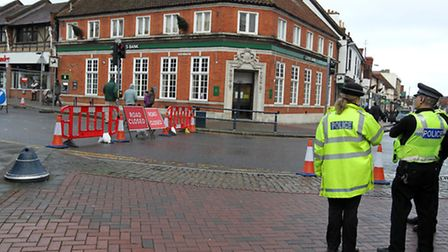 Police at the scene on Brand Street, Hitchin, due to a sinkhole.
