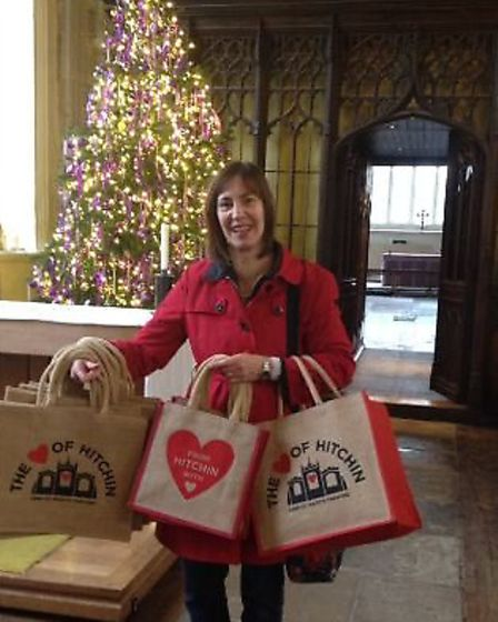 Anne Senechal with the Heart of Hitchin bags
