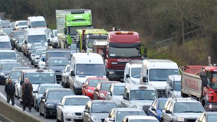 Traffic at the scene of the crash on the A1(M), which initially closed the motorway in both directio