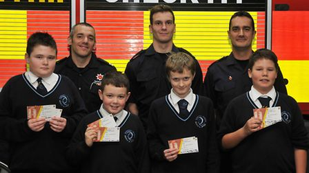 Barnwell Middle School pupils L-R Billy Johnson, 12, Connor Bell, 11, Jordon Bell, 11 and Alfie Arno