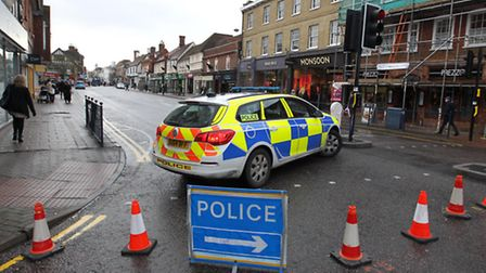 Police close part of Bancroft due to a depression in the road on Brand Street.