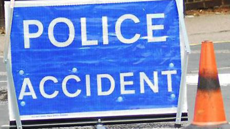 The A507 was blocked as a result of the three-vehicle crash but police have said traffic is now flow