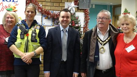 Stevenage MP Stephen McPartland joins the Christmas coffee morning at Age Concern Stevenage. Also pi