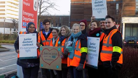 Junior doctors protesting outside the Lister Hospital during a previous one-day strike in January