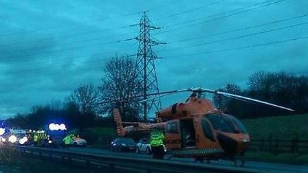 An air ambulance landed on the A1(M) after a serious crash on the motorway between Junction 8 and 7