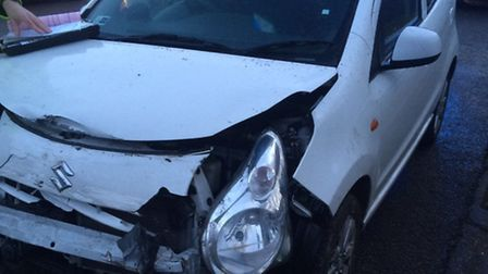 Kelsey's Suzuki Alto after the collision