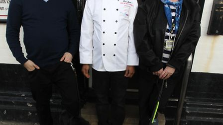Sean Dilley, with Sammy, Head Chef Abdul Kadir and Margaret Clarke with Marston at Spice Rouge